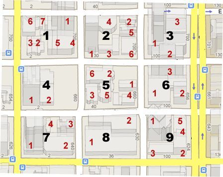 map of numbered houses